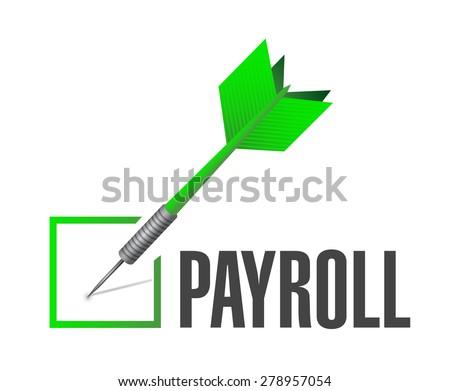 payroll check dart sign concept illustration design over white - stock photo