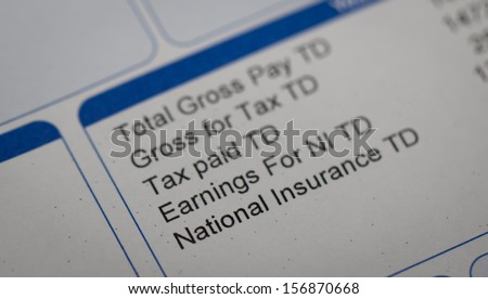 Payslip close up macro - stock photo