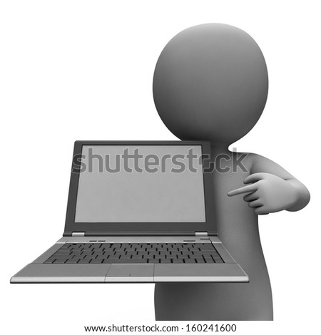 PC And Character Showing Browsing And Surfing Web Online - stock photo
