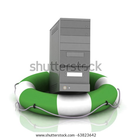 PC at lifesaver with reflection - stock photo
