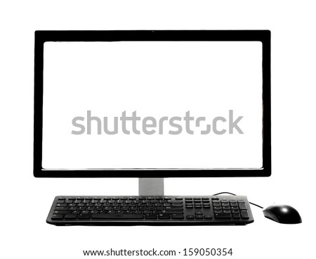 PC Desktop Computer with Blank White Screen isolated on a white background - stock photo