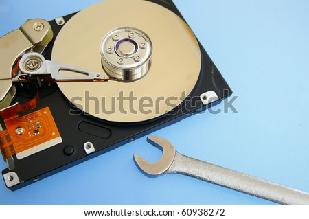pc hardrive and wrench, computer repair
