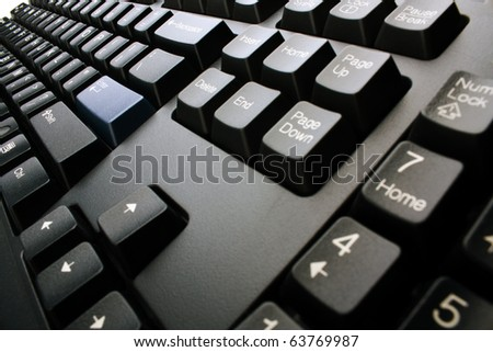 PC keyboard of black color closeup view - stock photo