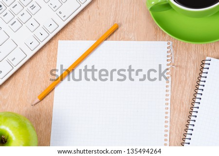 pc keyboard, pencil, coffee and notepad, workplace businessman - stock photo