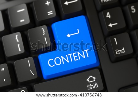 PC Keyboard with Hot Keypad for Content. Content Concept: Modern Keyboard with Content on Blue Enter Button Background, Selected Focus. Computer Keyboard Button Labeled Content. 3D Illustration.