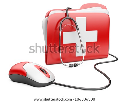 PC mouse with red folder and white cross.  PC computer first aid concept.  - stock photo