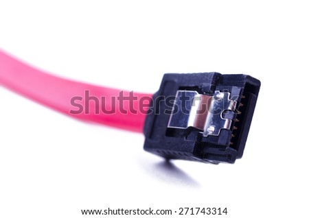 PC SATA cable with connector. Isolated on white background.