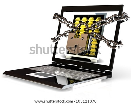 Pc security. Laptop with chain and lock. 3d - stock photo