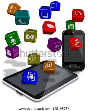 PC tablet and mobile phone with application icons between them / Phone tablet apps