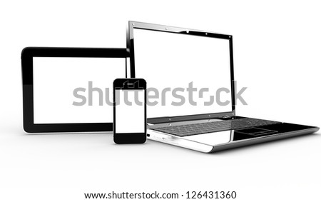 Pc, tablet and phone isolated on a white background - stock photo