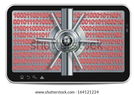 PC tablet screen made as a safe with binary code behind it / Data protection - stock photo