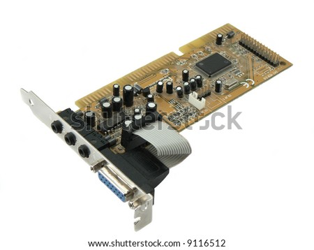 pci cards over a white background - stock photo
