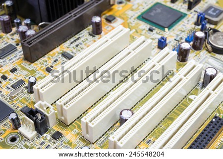 PCI connector slot in motherboard PC - stock photo