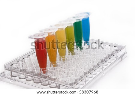 PCR plate and tubes filled with chemicals of different colors