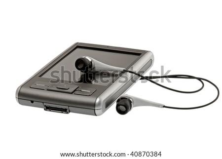 PDA and headphones - stock photo