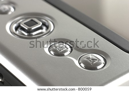 PDA email button. - stock photo