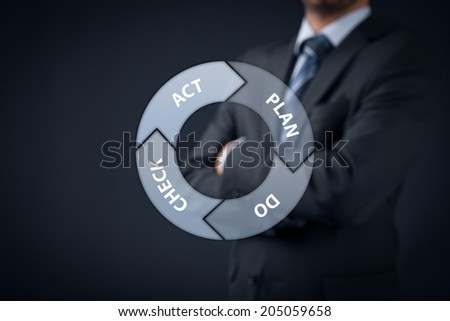 PDCA (plan-do-check-act) cycle - four-step management and business method. Manager supervise in background.  - stock photo