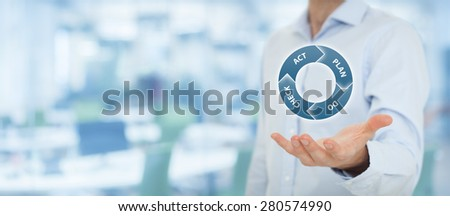 PDCA (plan do check act) cycle - four-step management and business method offered by manager. Wide banner composition with office in background. - stock photo