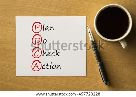 PDCA - Plan Do Check Action - handwriting on notebook with cup of coffee and pen, acronym business concept