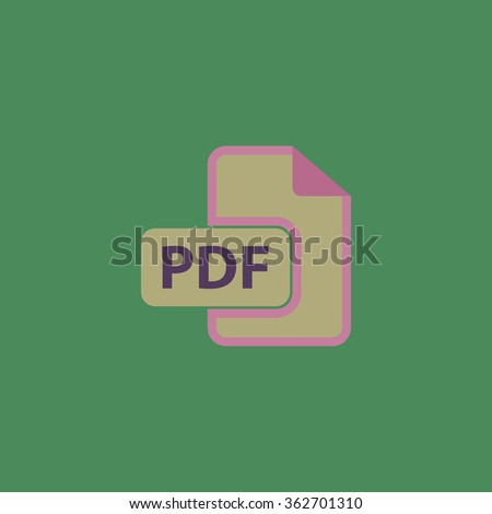 Pdf file format. Simple flat color icon on colorful background - stock photo