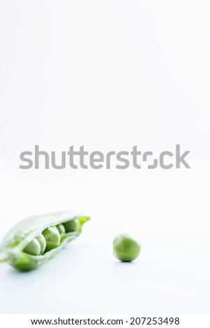 Pea and Open Pea Pod - stock photo
