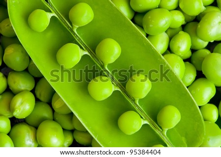 Pea background. A photo close up of green peas, bean - stock photo