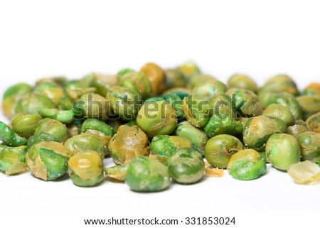 Pea salted on White background Close-up