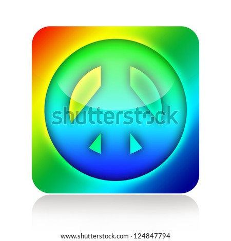 Peace and Love hippies icon - stock photo