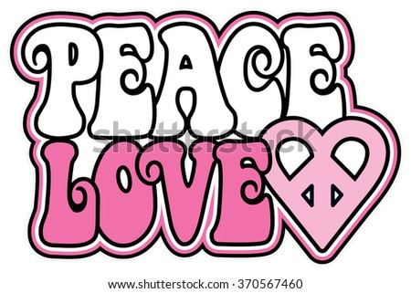 Peace and Love text design with a peace heart in shades of pink.