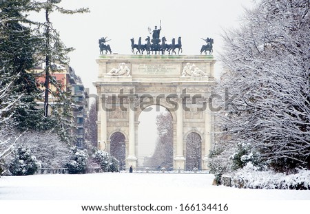Peace arch covered snow sempione park stock photo 166134416 peace arch covered with snow in sempione park milan italy malvernweather Gallery