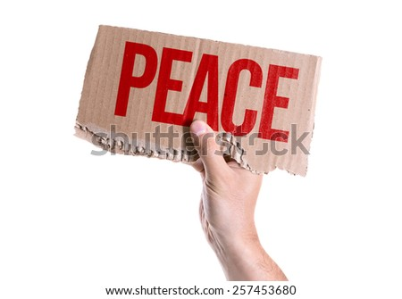 Peace card isolated on white background - stock photo