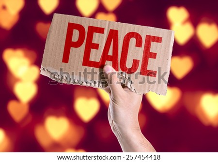 Peace card with heart bokeh background - stock photo
