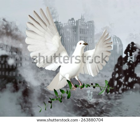 Peace Dove White dove carries an olive branch over a city landscape in rubble. - stock photo
