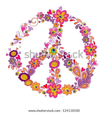 Peace flower symbol. Raster copy of vector image - stock photo