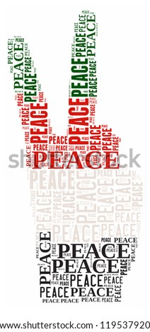Peace info-text graphic and arrangement concept on white background (word cloud) - stock photo