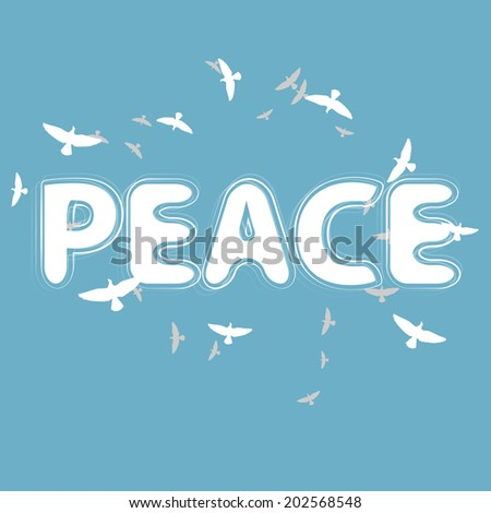 Peace lettering with birds