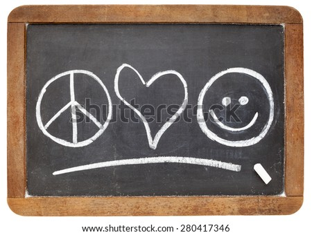 Peace Love Happiness Symbols White Chalk Stock Photo 280417346