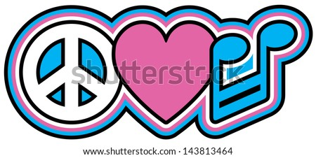 PEACE LOVE MUSIC retro-style design of a peace symbol, heart and barred note in red and gold. - stock photo