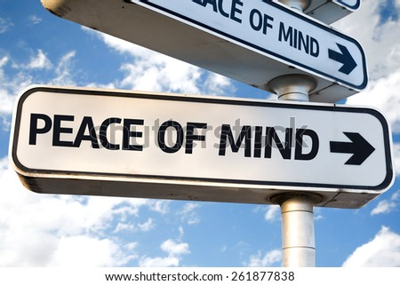 Peace of Mind direction sign on sky background - stock photo