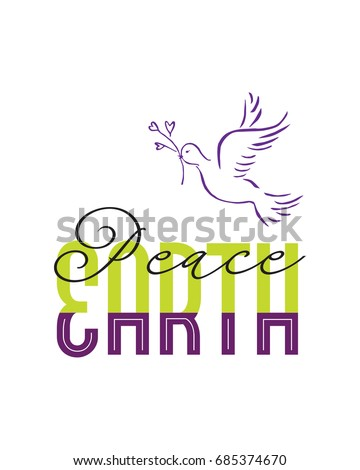 peace on earth illustration with dove and text
