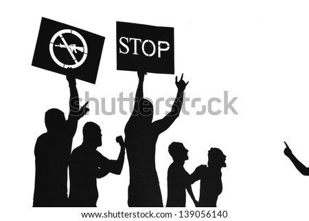 Peace protest against weapon use - silhouette illustration - stock photo