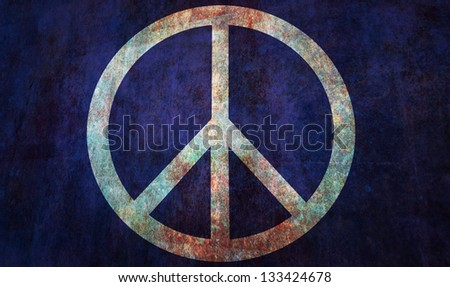 Peace protest flag, image is overlaying a detailed grungy texture - stock photo