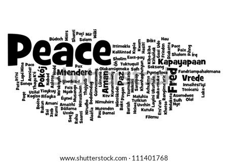 Peace related word info-text graphic and arrangement concept - stock photo