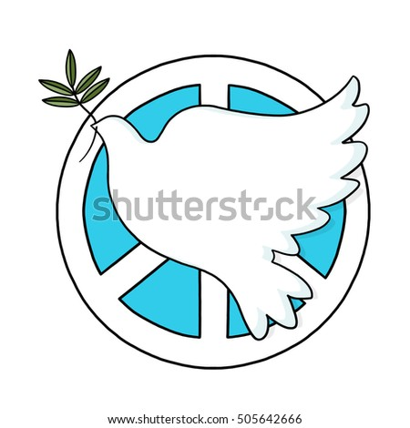 peace sign and dove holding olive branch