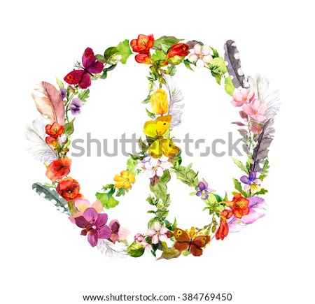 Peace sign with flowers and feathers in boho style. Watercolor - stock photo
