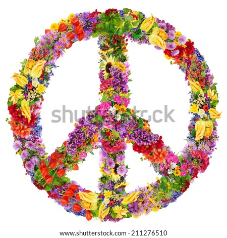 Peace symbol abstract collage made from fresh summer flowers. Isolated - stock photo