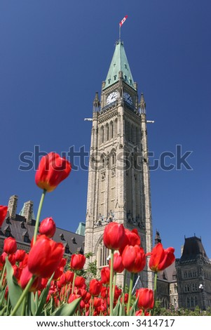Peace Tower, Parliament of Canada, Tulips Festival - stock photo