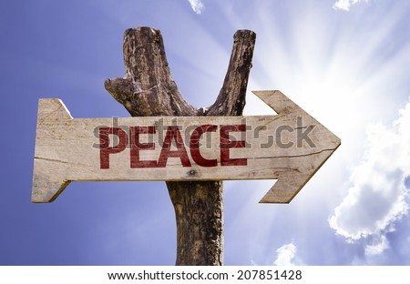 Peace wooden sign on a beautiful day - stock photo