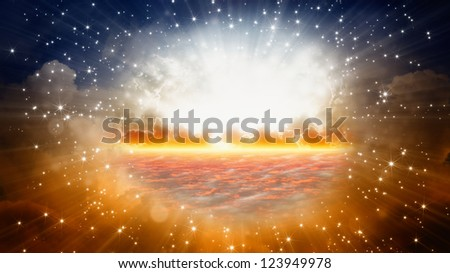 Peaceful background - beautiful sky, bright sun and stars, view on heaven - stock photo