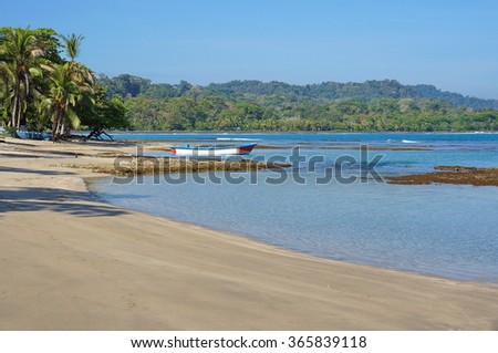 Peaceful beach on the Caribbean coast of Costa Rica, Puerto Viejo de Talamanca, Limon, Central America - stock photo